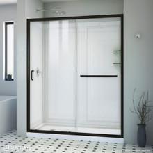 DreamLine Infinity-Z 34 in. D x 60 in. W x 76 3/4 in. H Clear Sliding Shower Door in Satin Black, Left Drain and Backwalls