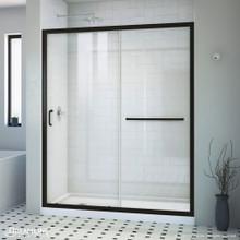 DreamLine Infinity-Z 30 in. D x 60 in. W x 74 3/4 in. H Clear Sliding Shower Door in Satin Black, Left Drain White Base
