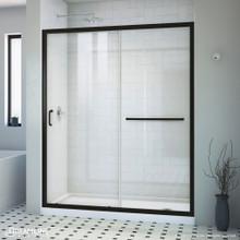 DreamLine Infinity-Z 32 in. D x 60 in. W x 74 3/4 in. H Clear Sliding Shower Door in Satin Black, Right Drain White Base