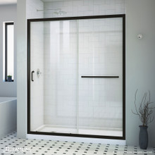 DreamLine Infinity-Z 34 in. D x 60 in. W x 74 3/4 in. H Clear Sliding Shower Door in Satin Black, Left Drain White Base