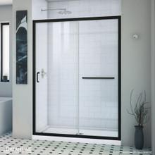 DreamLine Infinity-Z 32 in. D x 54 in. W x 74 3/4 in. H Clear Sliding Shower Door in Satin Black and Center Drain White Base