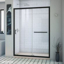 DreamLine Infinity-Z 32 in. D x 54 in. W x 74 3/4 in. H Clear Sliding Shower Door in Satin Black and Center Drain Biscuit Base