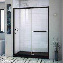 DreamLine Infinity-Z 32 in. D x 54 in. W x 74 3/4 in. H Clear Sliding Shower Door in Satin Black and Center Drain Black Base