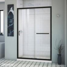 DreamLine Infinity-Z 36 in. D x 48 in. W x 74 3/4 in. H Clear Sliding Shower Door in Satin Black and Center Drain White Base