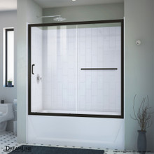DreamLine Infinity-Z 56-60 in. W  x 60 in. H Clear Sliding Tub Door in Satin Black with White Acrylic Backwall Kit
