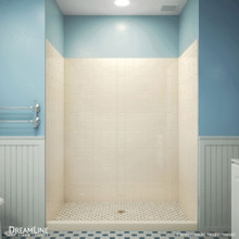 DreamLine QWALL-VS 50-54 in. W x 41-1/2 in. D x 76 in. H Acrylic Backwall Kit in Biscuit
