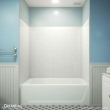 DreamLine QWALL-VS 56-60 in. W x 36 in. D x 62 in. H Acrylic Backwall Kit in White