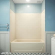 DreamLine QWALL-VS 56-60 in. W x 36 in. D x 62 in. H Acrylic Backwall Kit in Biscuit