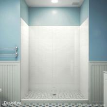 DreamLine QWALL-VS 56-60 in. W x 41-1/2 in. D x 76 in. H Acrylic Backwall Kit in White