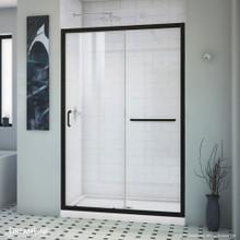 DreamLine Infinity-Z 44-48 in. W x 72 in. H Semi-Frameless Sliding Shower Door, Clear Glass in Satin Black