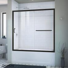 DreamLine Infinity-Z 56-60 in. W x 58 in. H Semi-Frameless Sliding Tub Door, Clear Glass in Satin Black