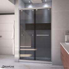 DreamLine Encore 44-48 in. W x 76 in. H Semi-Frameless Bypass Sliding Shower Door in Brushed Nickel and Gray Glass