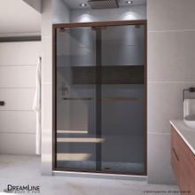 DreamLine Encore 44-48 in. W x 76 in. H Semi-Frameless Bypass Sliding Shower Door in Oil Rubbed Bronze and Gray Glass