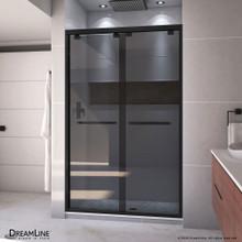 DreamLine Encore 44-48 in. W x 76 in. H Semi-Frameless Bypass Sliding Shower Door in Satin Black and Gray Glass