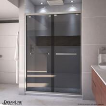 DreamLine Encore 50-54 in. W x 76 in. H Semi-Frameless Bypass Sliding Shower Door in Brushed Nickel and Gray Glass