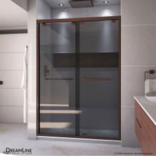 DreamLine Encore 50-54 in. W x 76 in. H Semi-Frameless Bypass Sliding Shower Door in Oil Rubbed Bronze and Gray Glass