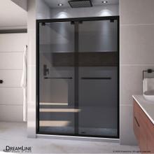 DreamLine Encore 50-54 in. W x 76 in. H Semi-Frameless Bypass Sliding Shower Door in Satin Black and Gray Glass