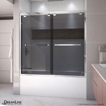 DreamLine Encore 56-60 in. W x 58 in. H Semi-Frameless Bypass Sliding Tub Door in Chrome and Gray Glass