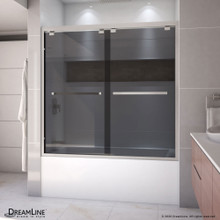 DreamLine Encore 56-60 in. W x 58 in. H Semi-Frameless Bypass Sliding Tub Door in Brushed Nickel and Gray Glass