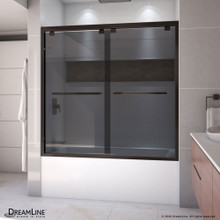 DreamLine Encore 56-60 in. W x 58 in. H Semi-Frameless Bypass Sliding Tub Door in Oil Rubbed Bronze and Gray Glass
