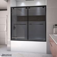 DreamLine Encore 56-60 in. W x 58 in. H Semi-Frameless Bypass Sliding Tub Door in Satin Black and Gray Glass