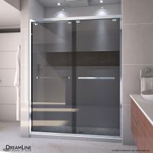 DreamLine Encore 56-60 in. W x 76 in. H Semi-Frameless Bypass Sliding Shower Door in Chrome and Gray Glass