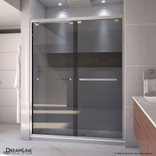 DreamLine Encore 56-60 in. W x 76 in. H Semi-Frameless Bypass Sliding Shower Door in Brushed Nickel and Gray Glass