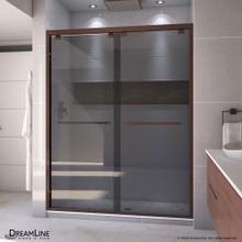 DreamLine Encore 56-60 in. W x 76 in. H Semi-Frameless Bypass Sliding Shower Door in Oil Rubbed Bronze and Gray Glass