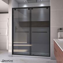DreamLine Encore 56-60 in. W x 76 in. H Semi-Frameless Bypass Sliding Shower Door in Satin Black and Gray Glass