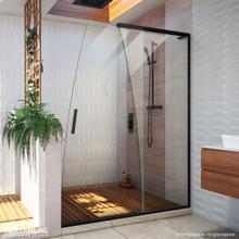 DreamLine Crest 58-60 in. W x 76 in. H Clear Glass Frameless Sliding Shower Door in Satin Black