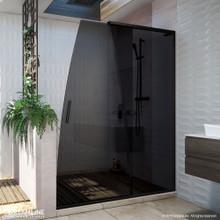DreamLine Crest 58-60 in. W x 76 in. H Smoke Gray Glass Frameless Sliding Shower Door in Satin Black