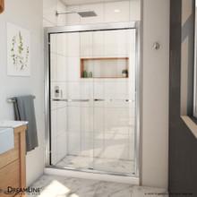 DreamLine Duet Plus 44-48 in. W x 72 in. H Semi-Frameless Bypass Sliding Shower Door in Chrome