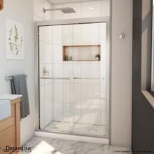 DreamLine Duet Plus 44-48 in. W x 72 in. H Semi-Frameless Bypass Sliding Shower Door in Brushed Nickel