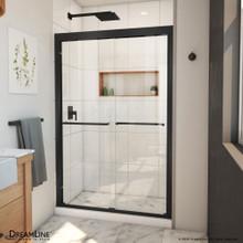 DreamLine Duet Plus 44-48 in. W x 72 in. H Semi-Frameless Bypass Sliding Shower Door in Satin Black