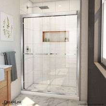 DreamLine Duet Plus 50-54 in. W x 72 in. H Semi-Frameless Bypass Sliding Shower Door in Chrome