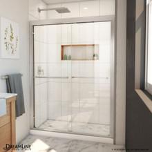 DreamLine Duet Plus 50-54 in. W x 72 in. H Semi-Frameless Bypass Sliding Shower Door in Brushed Nickel
