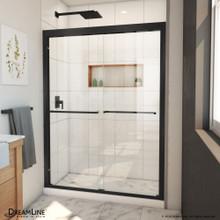 DreamLine Duet Plus 50-54 in. W x 72 in. H Semi-Frameless Bypass Sliding Shower Door in Satin Black