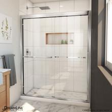 DreamLine Duet Plus 56-60 in. W x 72 in. H Semi-Frameless Bypass Sliding Shower Door in Chrome
