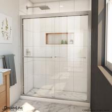 DreamLine Duet Plus 56-60 in. W x 72 in. H Semi-Frameless Bypass Sliding Shower Door in Brushed Nickel