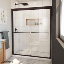 DreamLine Duet Plus 56-60 in. W x 72 in. H Semi-Frameless Bypass Sliding Shower Door in Oil Rubbed Bronze