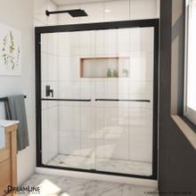 DreamLine Duet Plus 56-60 in. W x 72 in. H Semi-Frameless Bypass Sliding Shower Door in Satin Black