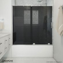 DreamLine Mirage-X 56-60 in. W x 58 in. H Frameless Sliding Tub Door in Brushed Nickel
