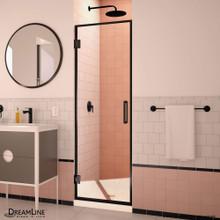 DreamLine Unidoor Edge 24 in. W x 72 in. H Frameless Hinged Shower Door in Satin Black