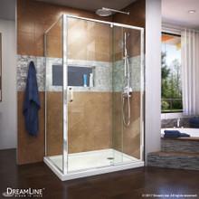DreamLine Flex 34 1/2 in. D x 38-42 in. W x 72 in H Semi-Frameless Pivot Shower Enclosure in Chrome