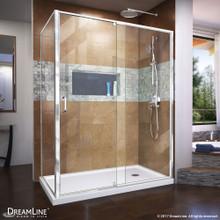 DreamLine Flex 34 1/2 in. D x 50-54 in. W x 72 in. H Semi-Frameless Pivot Shower Enclosure in Chrome