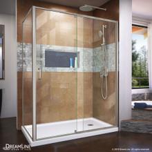 DreamLine Flex 34 1/2 in. D x 50-54 in. W x 72 in. H Semi-Frameless Pivot Shower Enclosure in Brushed Nickel