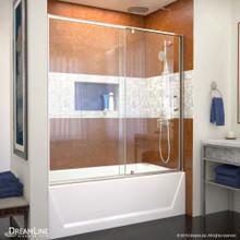 DreamLine Flex 56-60 in. W x 58 in. H Semi-Frameless Pivot Tub Door in Brushed Nickel