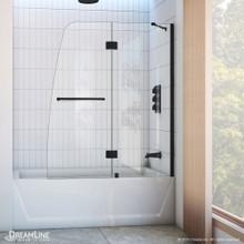 DreamLine Aqua 48 in. W x 58 in. H Frameless Hinged Tub Door in Satin Black