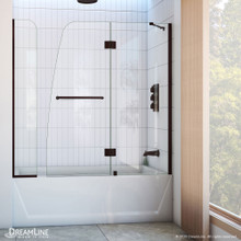 DreamLine Aqua 56-60 in. W x 58 in. H Frameless Hinged Tub Door with Extender Panel in Oil Rubbed Bronze