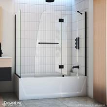 DreamLine Aqua 56-60 in. W x 30 in. D x 58 in. H Frameless Hinged Tub Door with 30 in. Return Panel in Satin Black